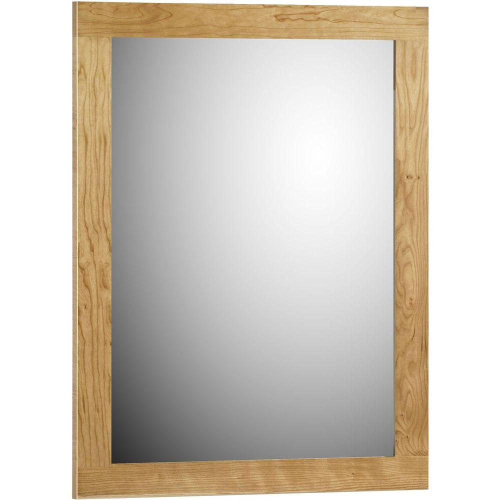 Shaker 24 in. W x .75 in. D x 32 in. H Framed Mirror in Natural Alder