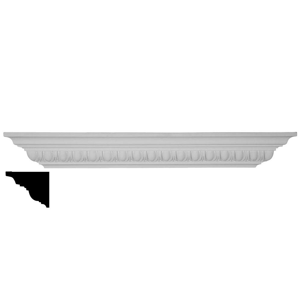 Ekena Millwork 12 in. x 3-7/8 in. x 5-1/4 in. Polyurethane Egg and Dart Shelf Moulding