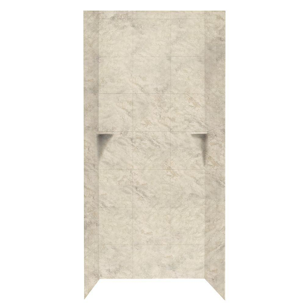 Swan Square Tile 36 in. x 36 in. x 96 in. 3-Piece Easy Up Adhesive Alcove Shower Surround in Mountain Haze