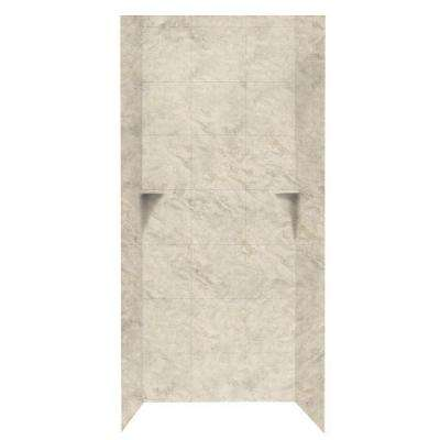 Square Tile 36 in. x 36 in. x 96 in. 3-Piece Easy Up Adhesive Alcove Shower Surround in Mountain Haze