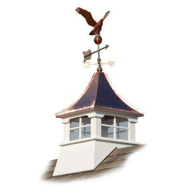 Charleston 24 in. x 24 in. x 63 in. Composite Vinyl Cupola with Copper Roof and Weathervane