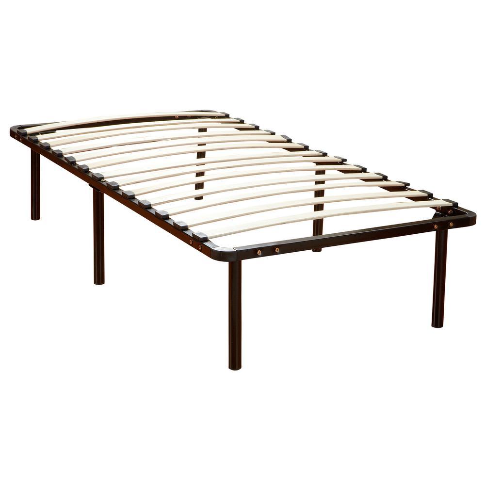 Europa Queen-Size Wood Slat and Metal Platform Bed Frame