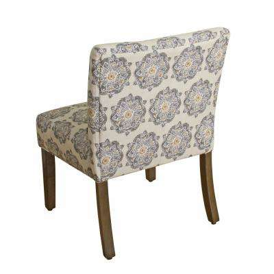 Printed Gray Medallion Parker Accent Chair and Pillow