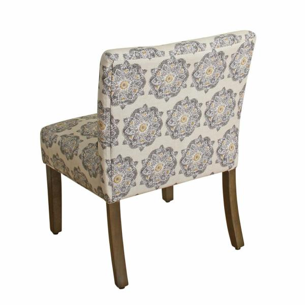 . Printed Gray Medallion Parker Accent Chair and Pillow