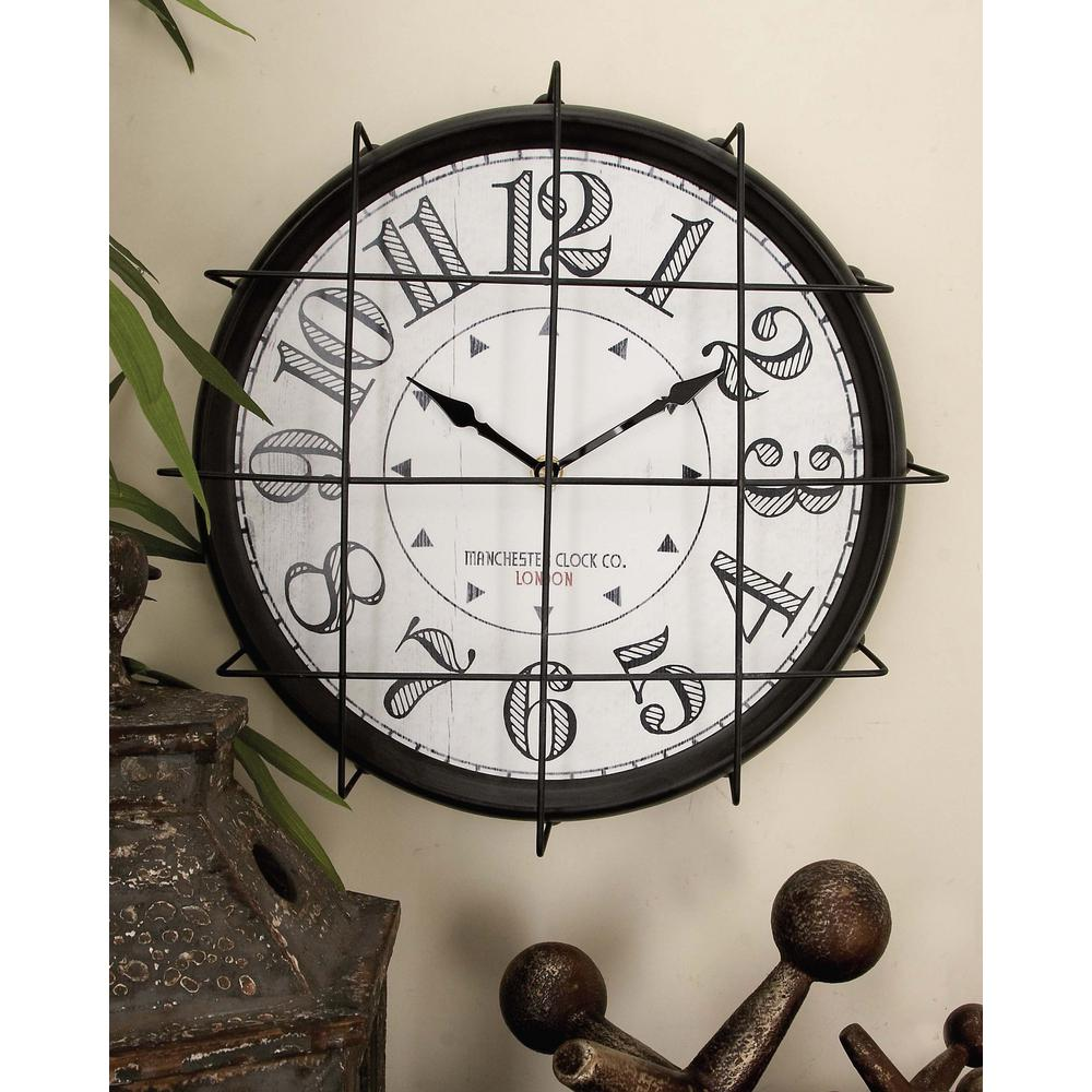 12 in. Vintage Iron Wire Grill Wall Clock