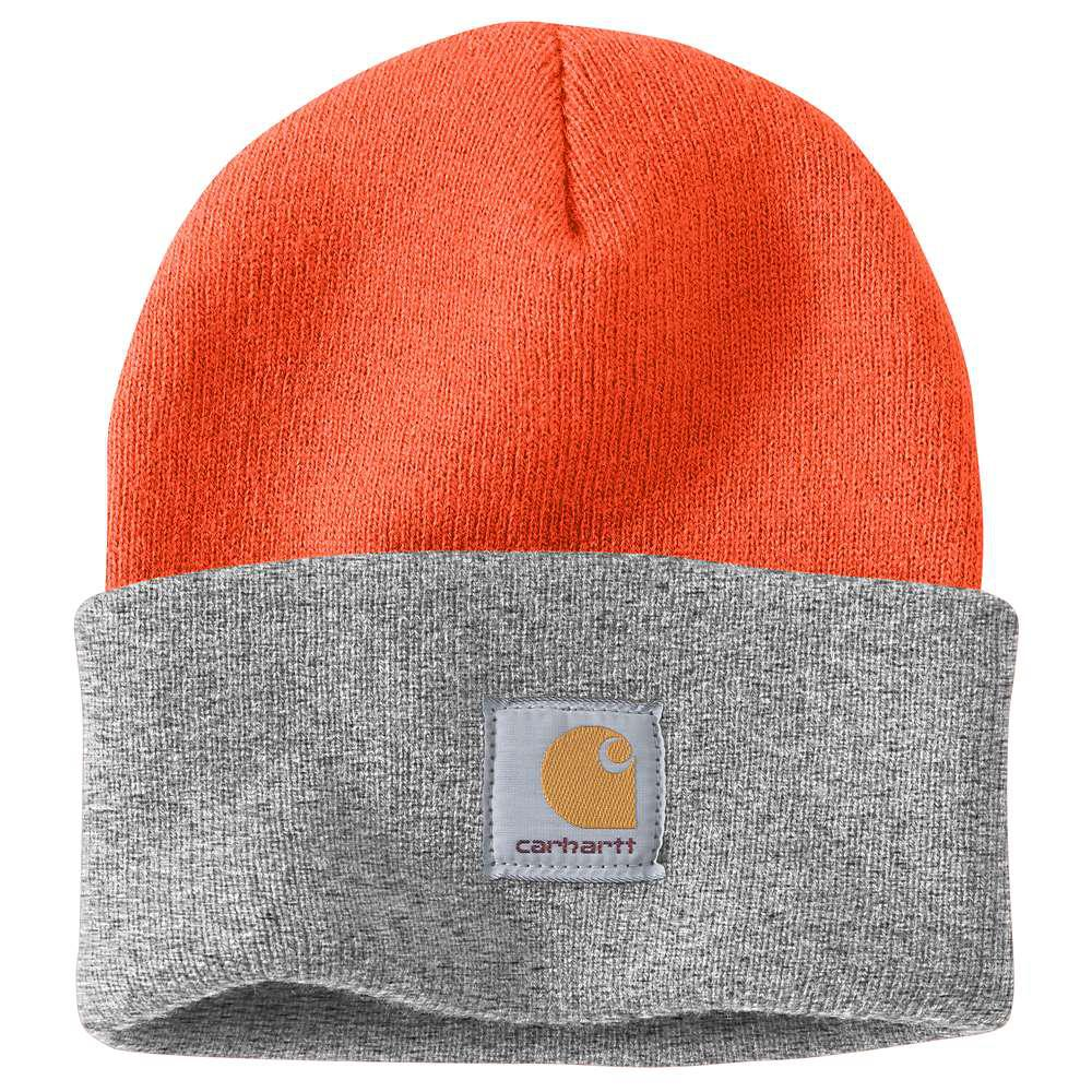 Carhartt Men s OFA Brite Orange Heather Grey Acrylic Hat Headwear ... 23865092731