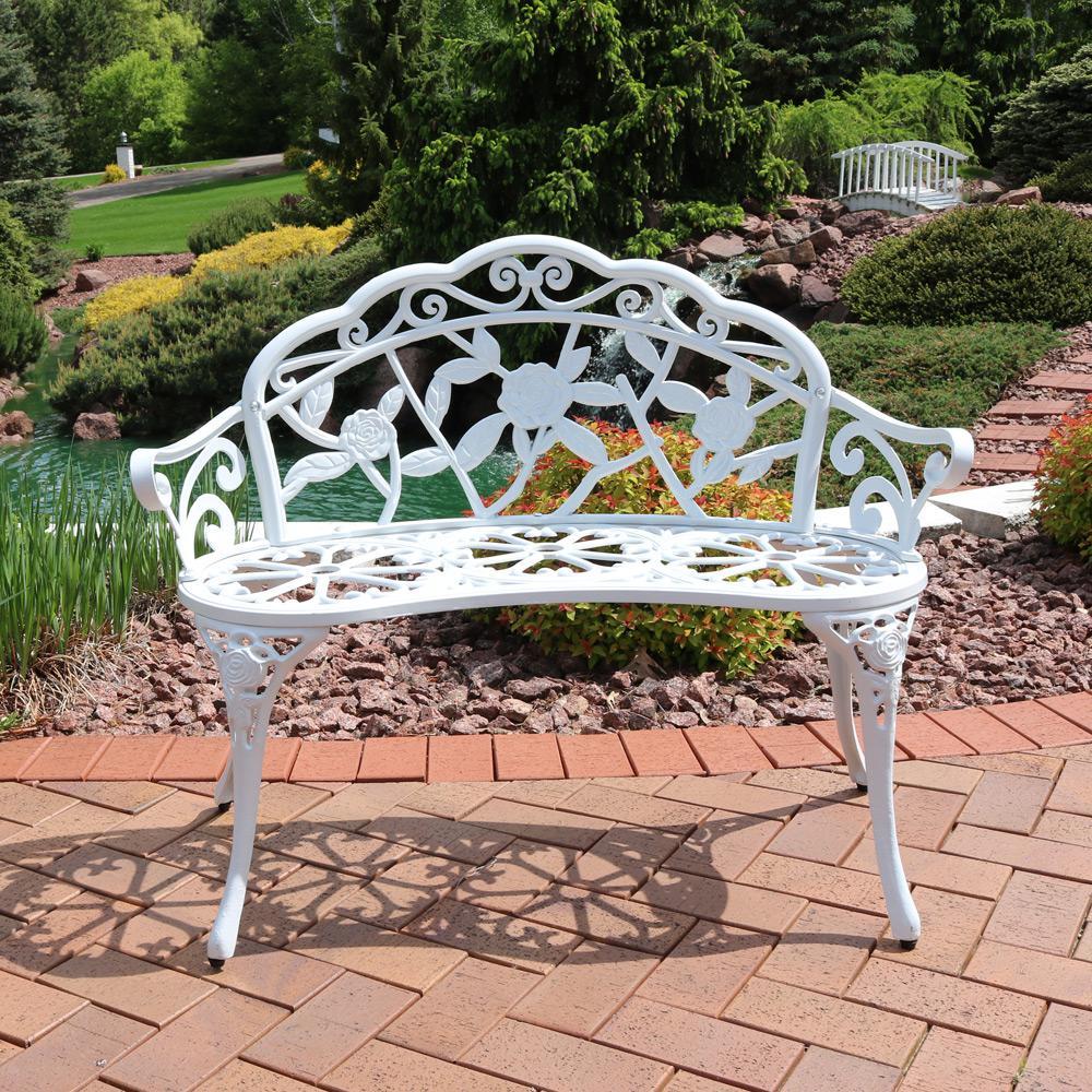Pleasant Sunnydaze Decor Classic Rose White Cast Aluminum Outdoor 2 Person Bench Machost Co Dining Chair Design Ideas Machostcouk