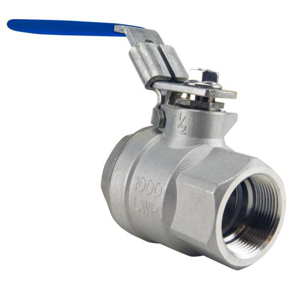 1-1/2 in. Stainless Steel FNPT x FNPT Full-Port Ball Valve with Latch Lock Lever