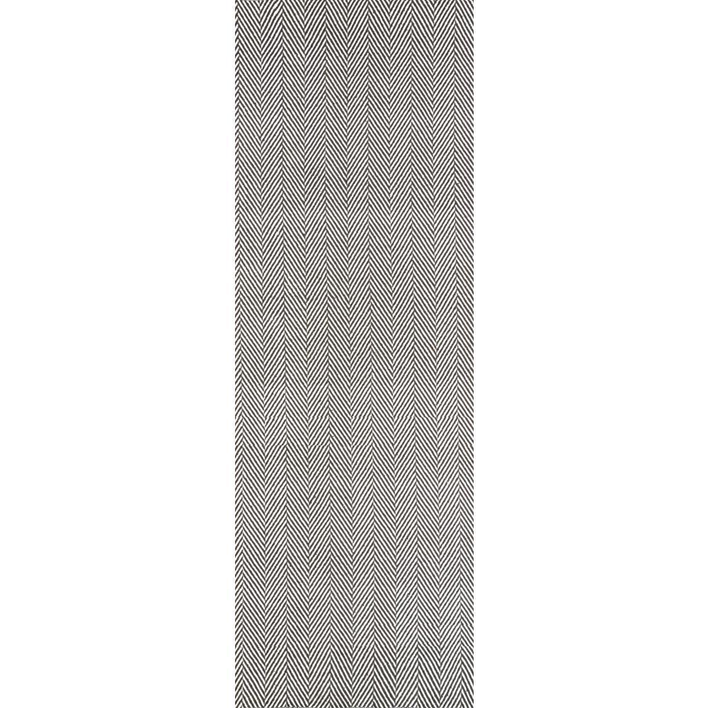Herringbone Cotton Grey 2 ft. 6 in. x 8 ft. Runner Rug