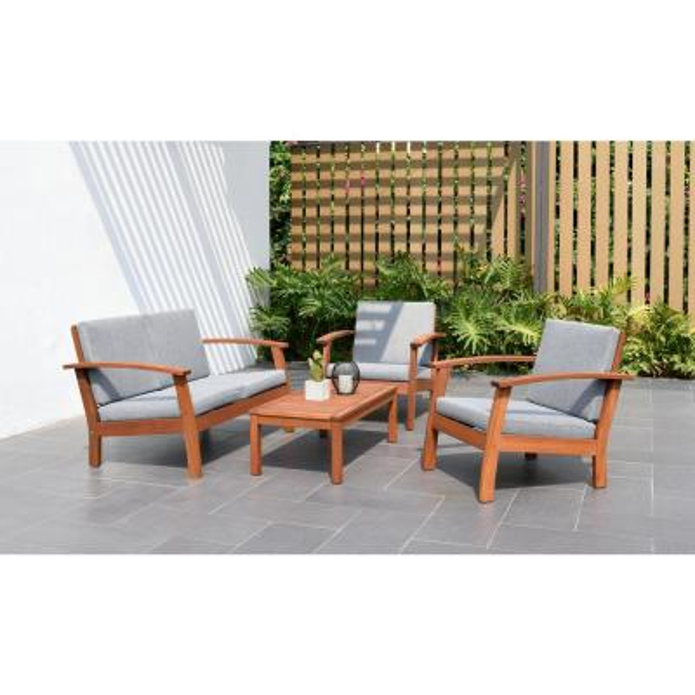 Trentino 4-Piece Wood Patio Conversation Deep Seating Set with Grey Cushions