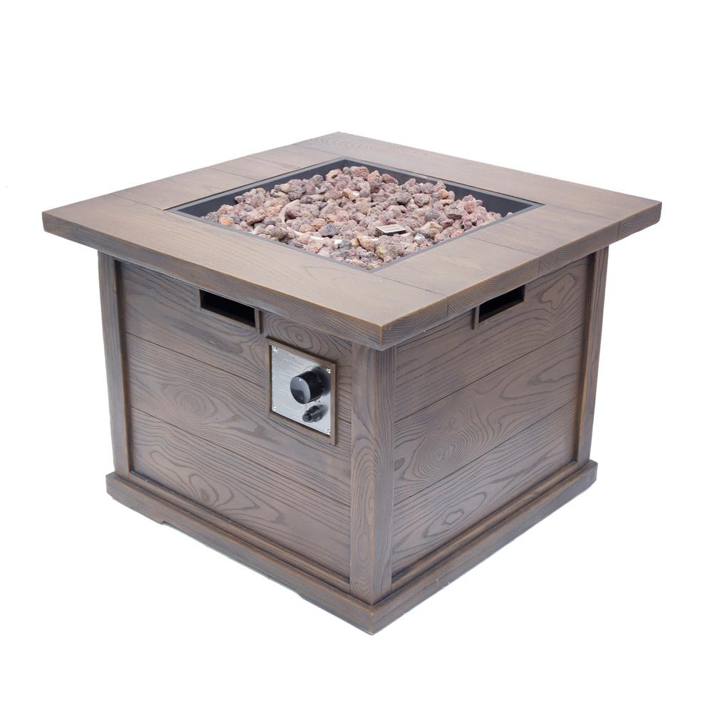 Noble House Ricardo 32 in. x 24 in. Square MGO Propane Fire Pit in Brown with Wood Pattern