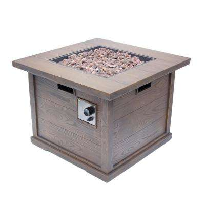 Ricardo 32 in. x 24 in. Square MGO Propane Fire Pit in Brown with Wood Pattern