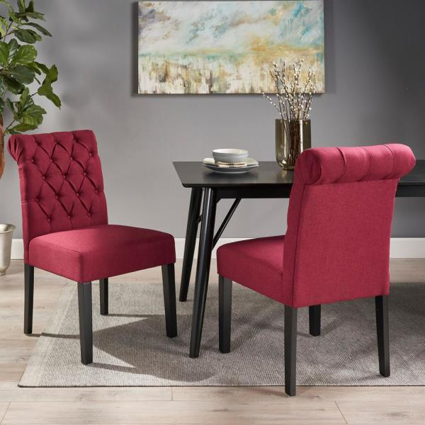 Broxton Deep Red and Matte Black Tufted Rolltop Dining Chairs (Set of 2)