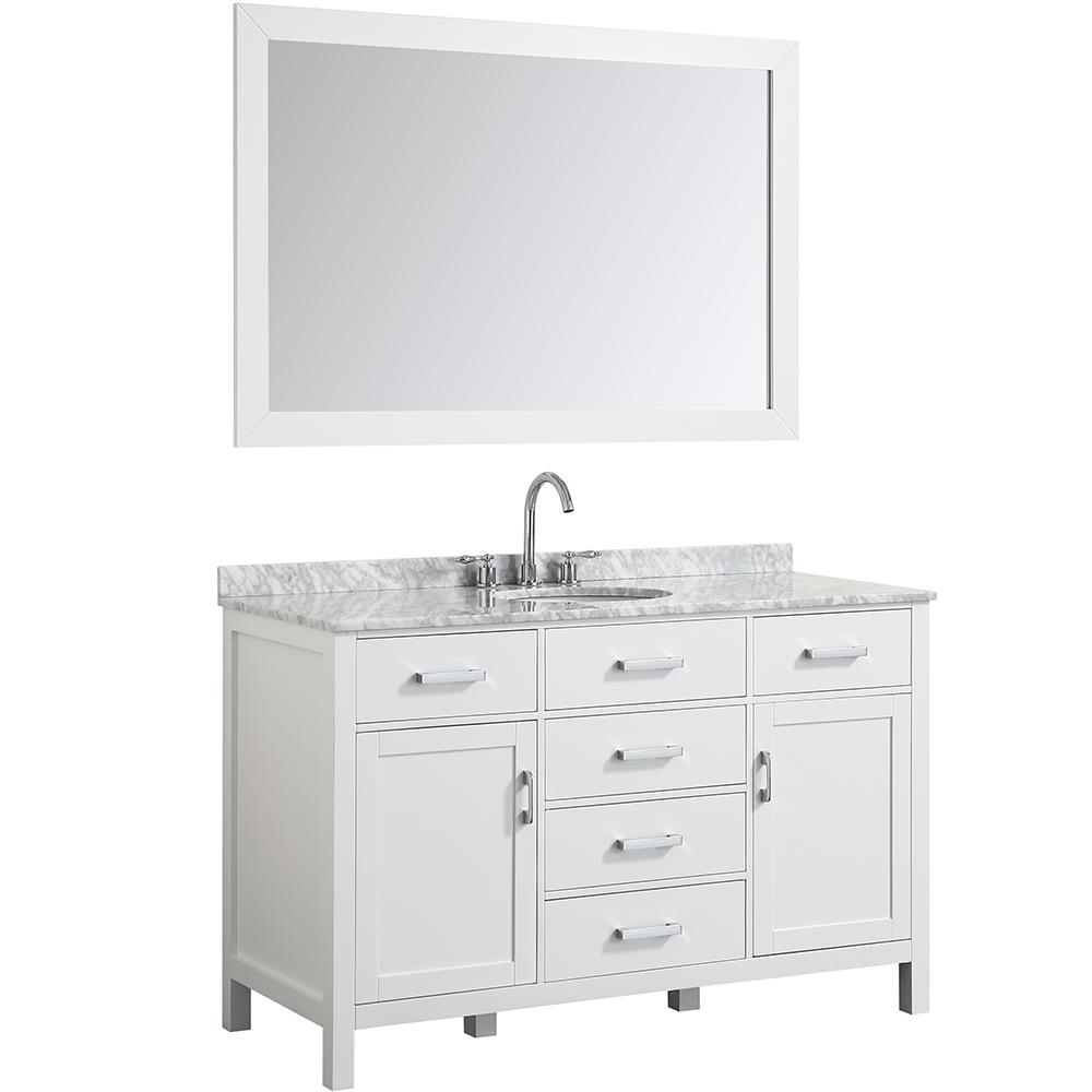 Belmont Decor Hampton 55 in. Bath Vanity in White with Marble Vanity Top in Carrara White with White Basin and Mirror