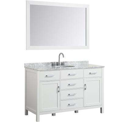 Hampton 55 in. Bath Vanity in White with Marble Vanity Top in Carrara White with White Basin and Mirror