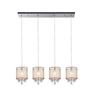 Radiant 4-Light Chrome Chandelier with Gold shade