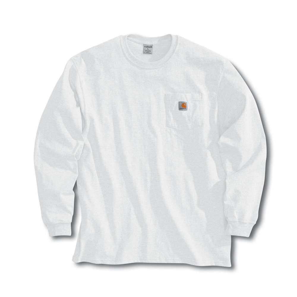 Men's Tall Large White Cotton Long-Sleeve T-Shirt