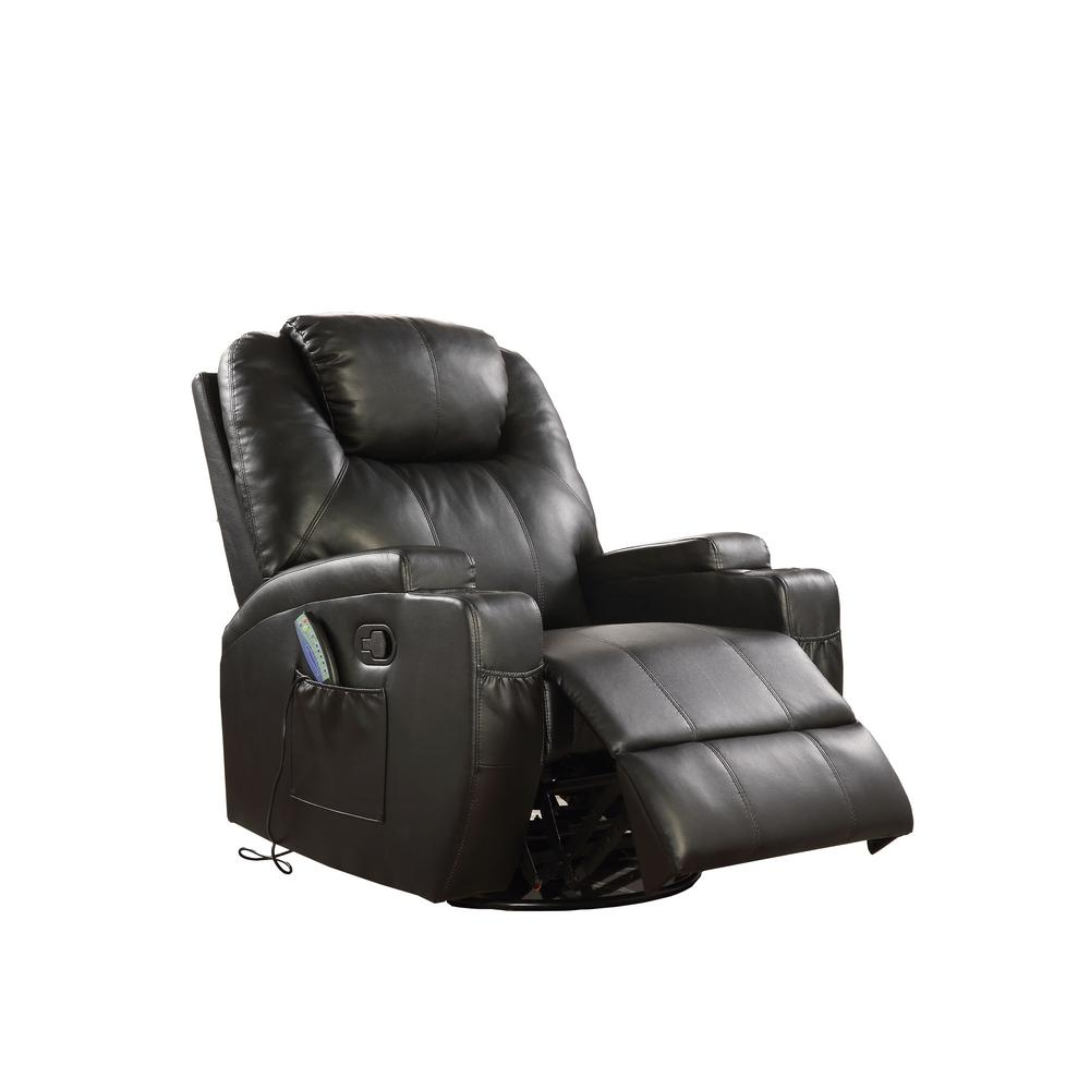 Waterlily Black Bonded Leather Match Swivel Rocker Recliner with Massage