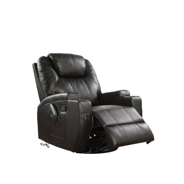 Acme Furniture Waterlily Black Bonded Leather Match Swivel Rocker Recliner with Massage
