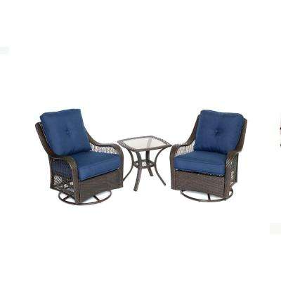 Orleans 3-Piece All-Weather Wicker Patio Bistro Set with Navy Blue Cushions