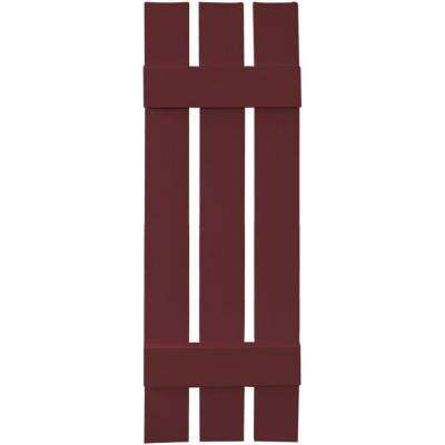 12 in. x 39 in. Board-N-Batten Shutters Pair, 3 Boards Spaced #078 Wineberry