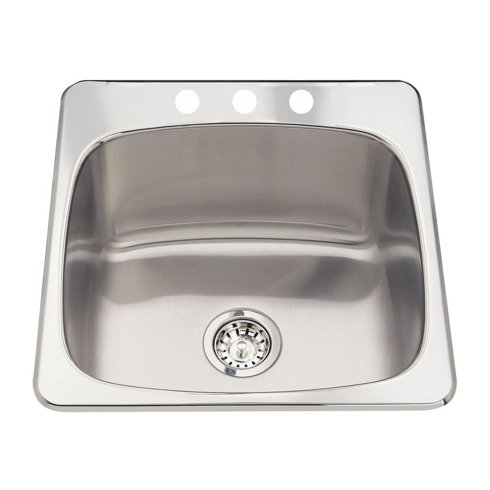 ECOSINKS Acero Drop-in Laundry/Utility Stainless Steel 20-1/8x20-9/16x10 3-Hole Single Bowl Kitchen Sink SatinFinish-DISCONTINUED