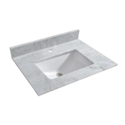 Newton 31 in. x 22 in. Carrara Marble Vanity Top with Square Sink for Single Hole Installation in Carrara White