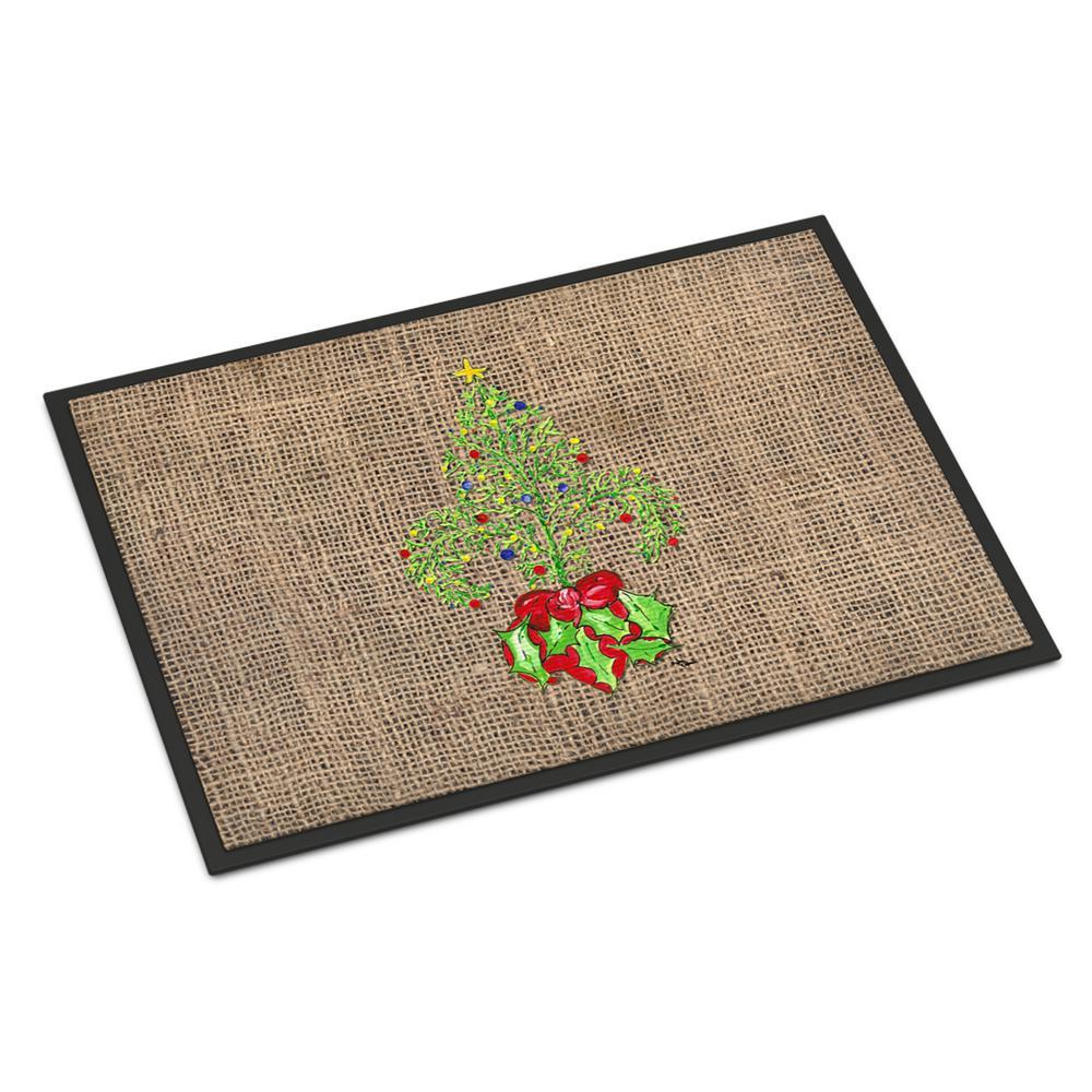 24 in. x 36 in. Indoor/Outdoor Christmas Tree Fleur de lis Door Mat