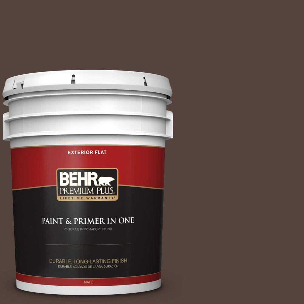 5-gal. #780B-7 Bison Brown Flat Exterior Paint