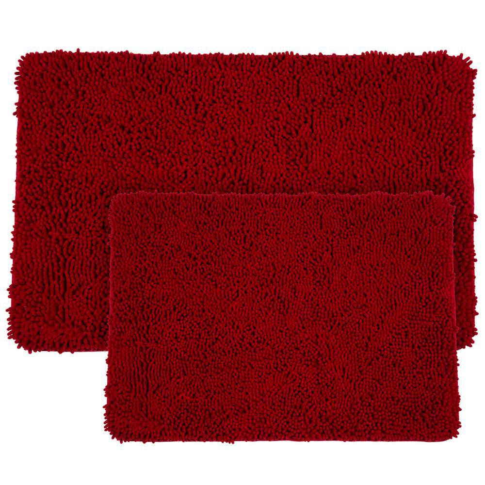 Shag Burgundy 21 in. x 32 in. Memory Foam 2-Piece Bath Mat Set