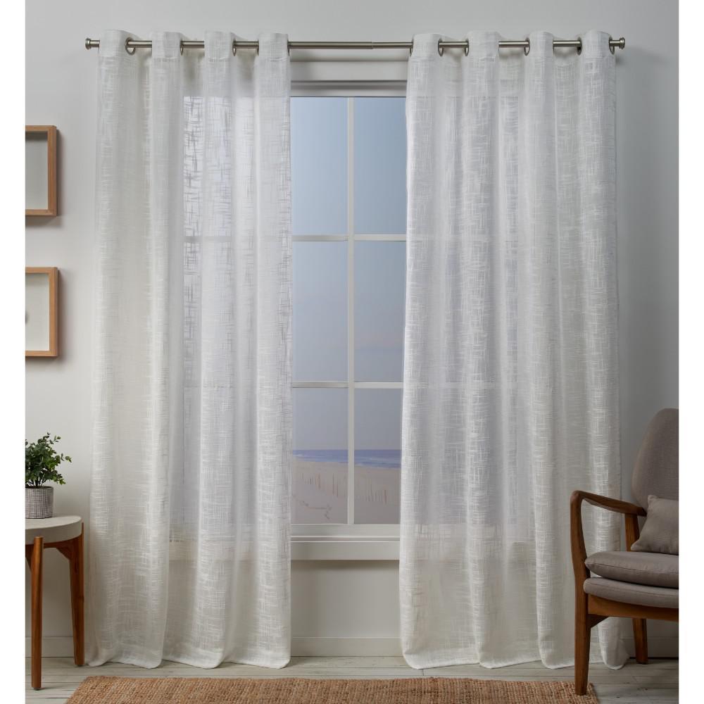 Sena 54 in. W x 84 in. L Sheer Grommet Top Curtain Panel in Snowflake (2 Panels)