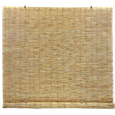 Natural Cord-Free Interior/Exterior Peeled and Polished Reed Manual Roll-Up Shade 72 in. W x 72 in. L