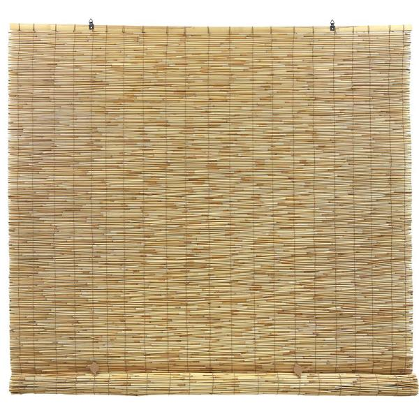 Natural Cordless Light Filtering UV Protection Bamboo Interior/Exterior Manual Roll-Up Shade 72 in. W x 72 in. L