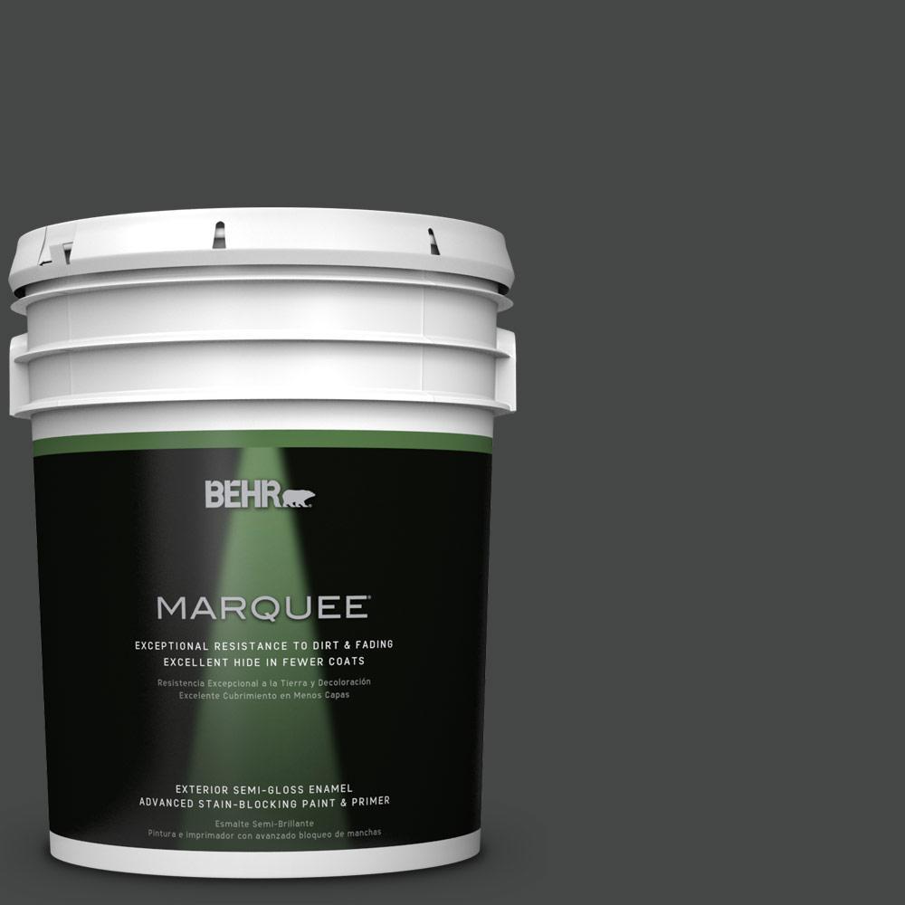 5 gal. #PPU26-23 Black Boudoir Semi-Gloss Enamel Exterior Paint