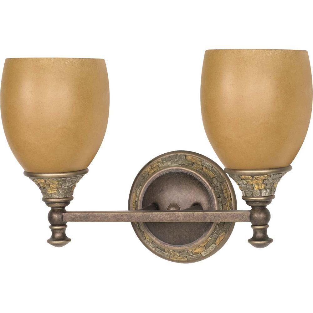 Glomar Rockport Tuscano 2 Light 17 in. Vanity with Sepia Colored Glass Shades Finished in Dorado Bronze-DISCONTINUED
