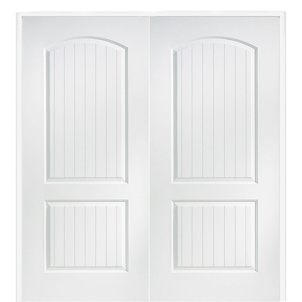 Mmi door 61 5 in x in primed composite santa fe for Home double entry doors