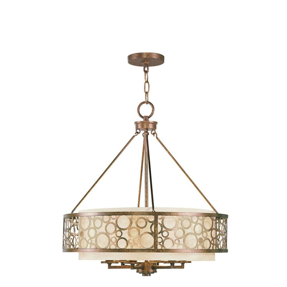 6-Light Palatial Bronze Incandescent Ceiling Chandelier with Gilded Accents