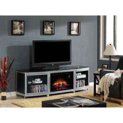 Gotham 72 in. Media Console with Electric Fireplace - Silver and Black