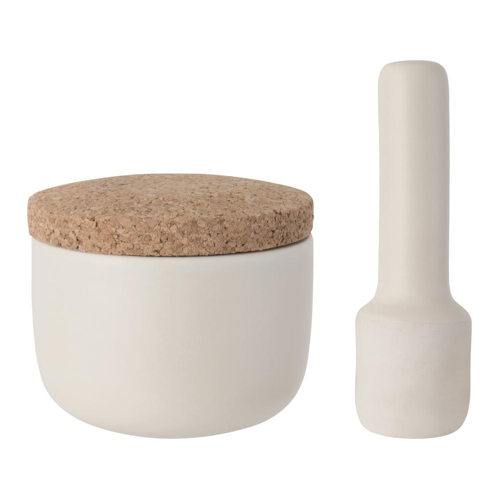 Leo Collection Stoneware Small Mortar and Pestle Set