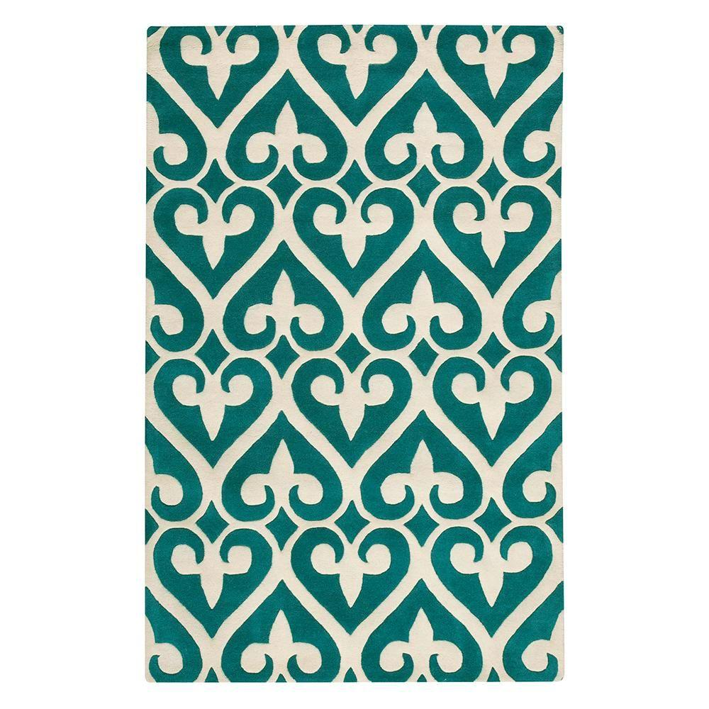 Home Decorators Collection Spades Teal and Cream 2 ft. 3 in. x 3 ft. 9 in. Area Rug