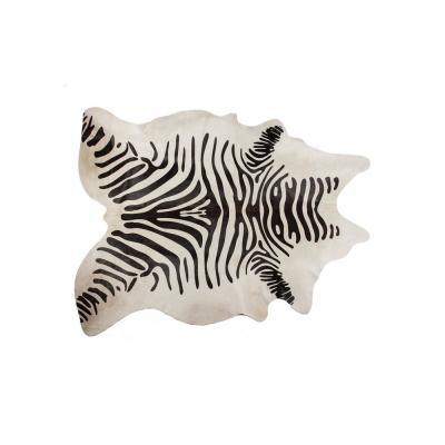 Josephine Zebra Black On Off-White 7 ft. x 11 ft. Specialty Cowhide Area Rug
