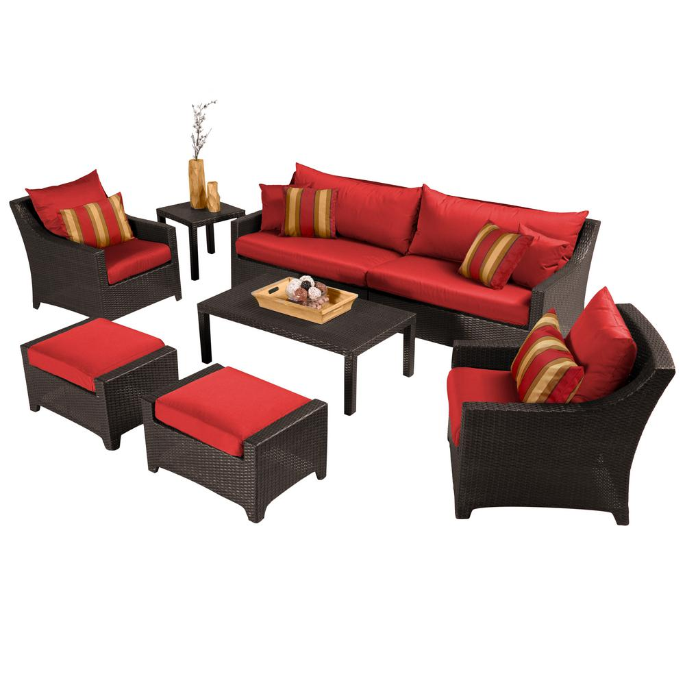 RST Brands Deco 8-Piece Patio Seating Set with Cantina Red Cushions