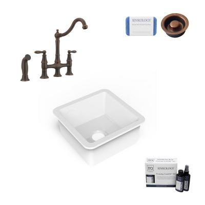 Amplify Undermount Fireclay 18.1 in. Single Bowl Bar Prep Sink with Pfister Bridge Faucet and Disposal Drain