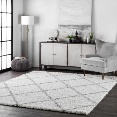 Shanna Easy Shag White 4 ft. x 6 ft. Area Rug
