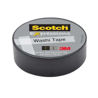 Scotch 0.59 in. x 10.9 yds. Black Solid Expressions Washi Tape (Case of 36)