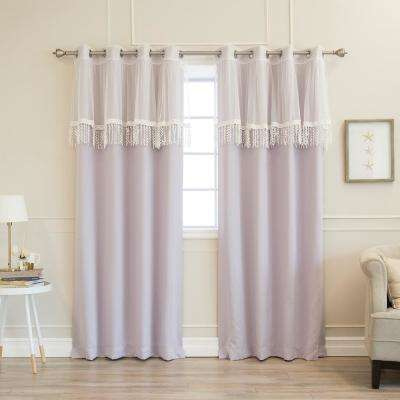 52 in. W x 84 in. L uMIXm Leaf Fringe Valance & Blackout Curtains in Lilac (4-Pack)