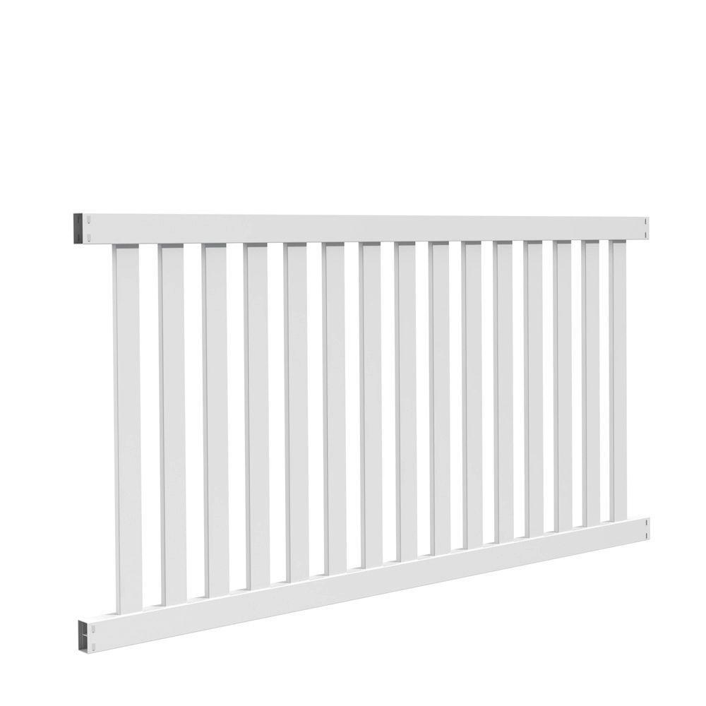 Ohio 4 ft. H x 8 ft. W White Vinyl Un-Assembled Fence Panel