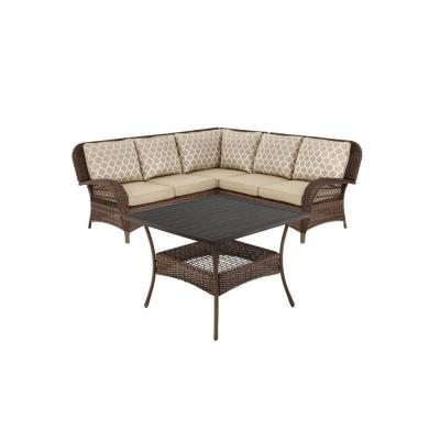 Beacon Park 4-Piece Steel Brown Wicker Outdoor Sectional Sofa with Toffee Cushions and Slat Top Table