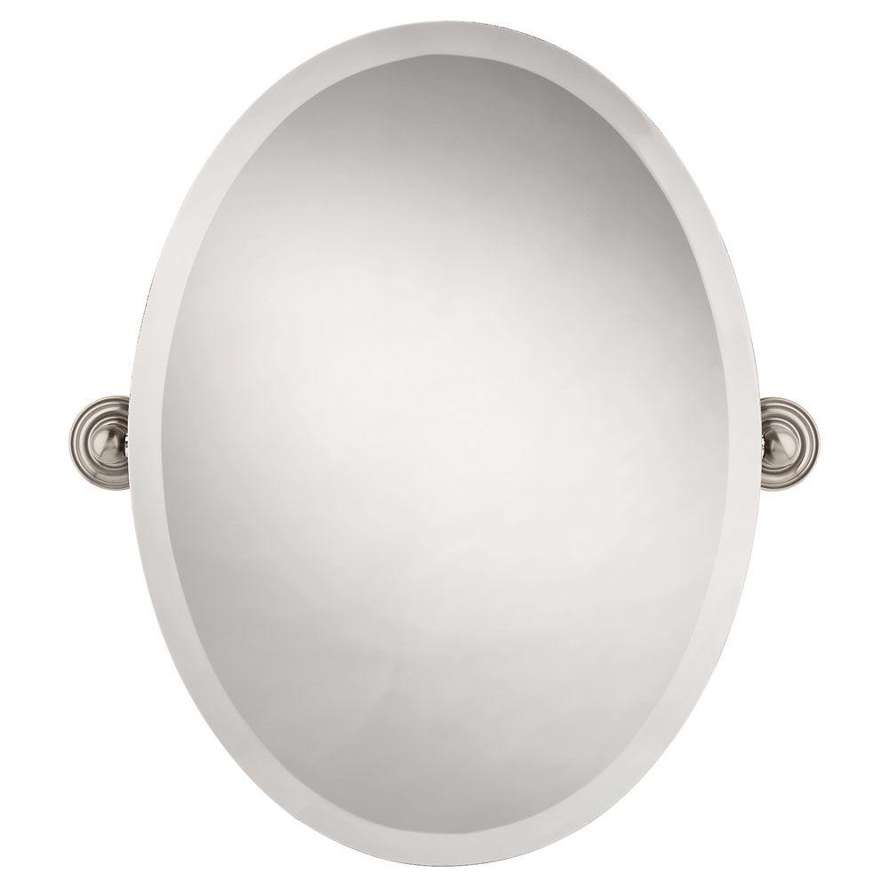 Frameless oval bathroom mirror with beveled edges in spotshield brushed nickel 138265 the home depot