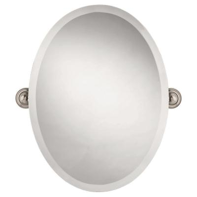 Greenwich 24 in. x 18 in. Frameless Oval Bathroom Mirror with Beveled Edges in SpotShield Brushed Nickel